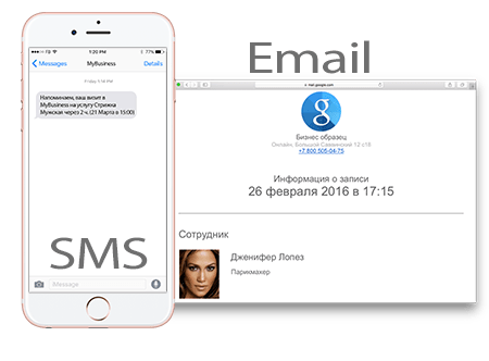 SMS и email уведомления yclients