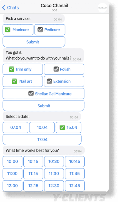chatbot online booking service scheduling appointments
